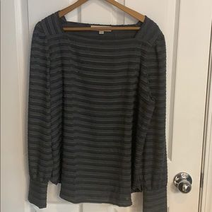 LOFT long sleeve gray blouse, medium